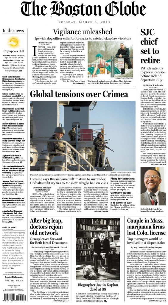 The Boston Globe: Global tensions over Crimea