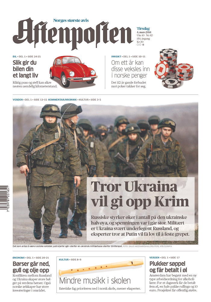 Aftenpolten: Tror Ukraina vil gi opp Krim