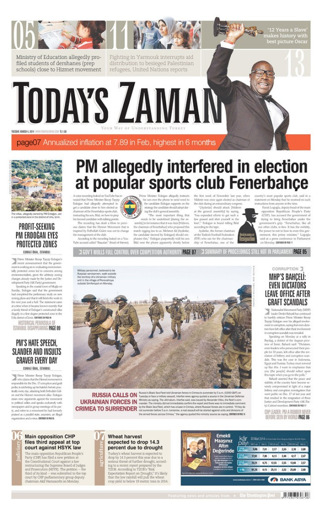 Todays Zaman:  Russia calls on ukrainian forces in Crimea to surrender