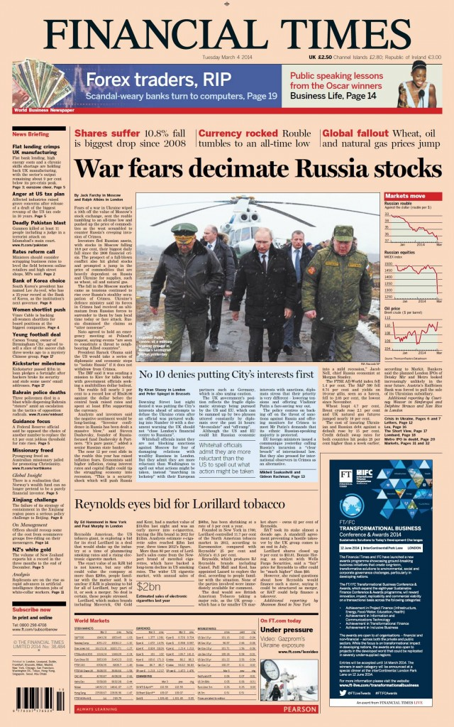 Financial Times: War fears decimate Russia stocks