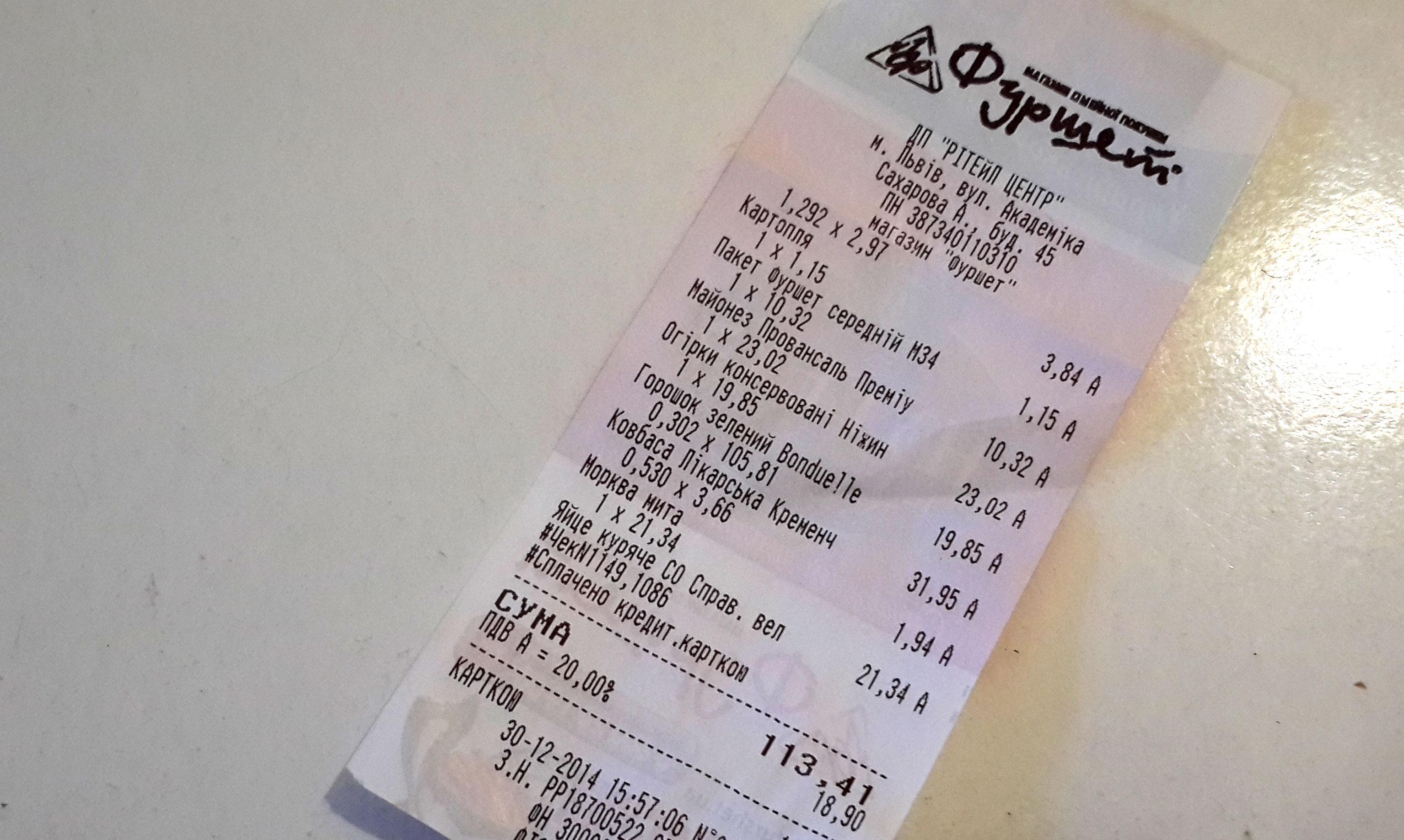 Ціна продуктів на салат Олів'є. Грудень 2014