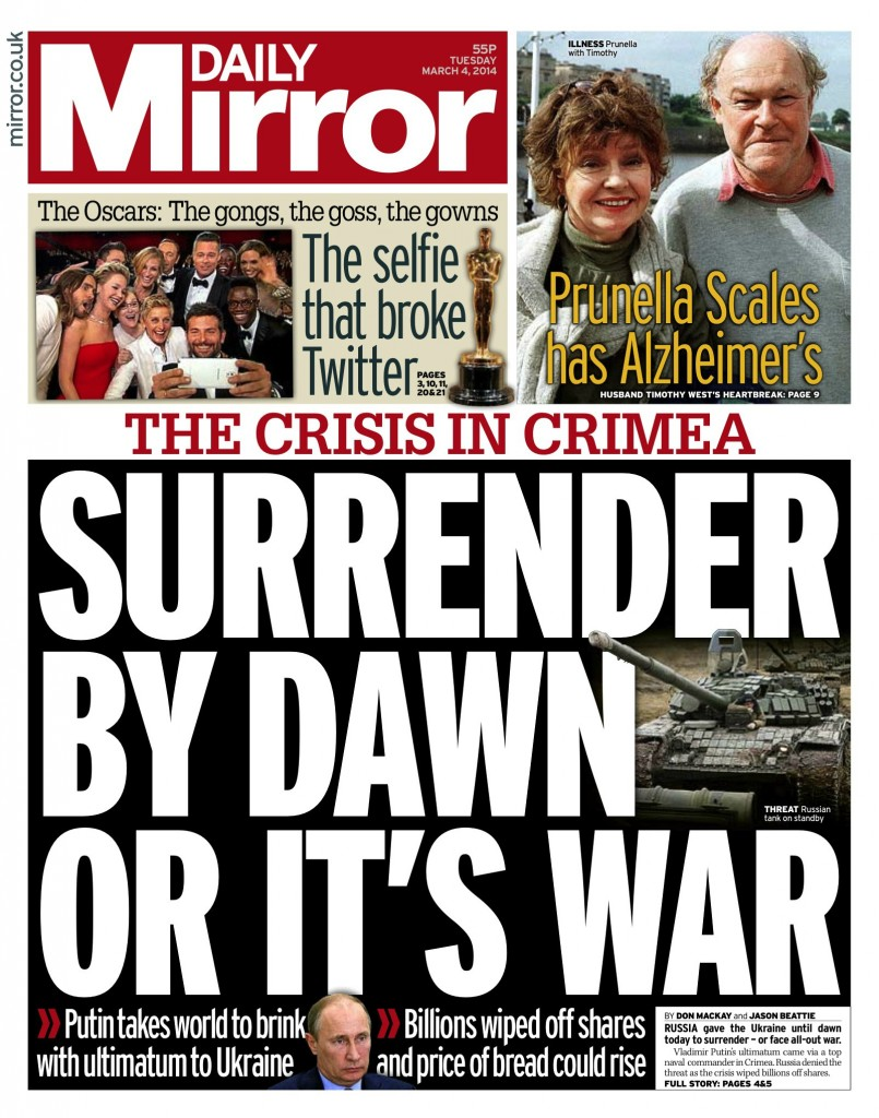Daily Mirror: Surrender by dawn or it's war