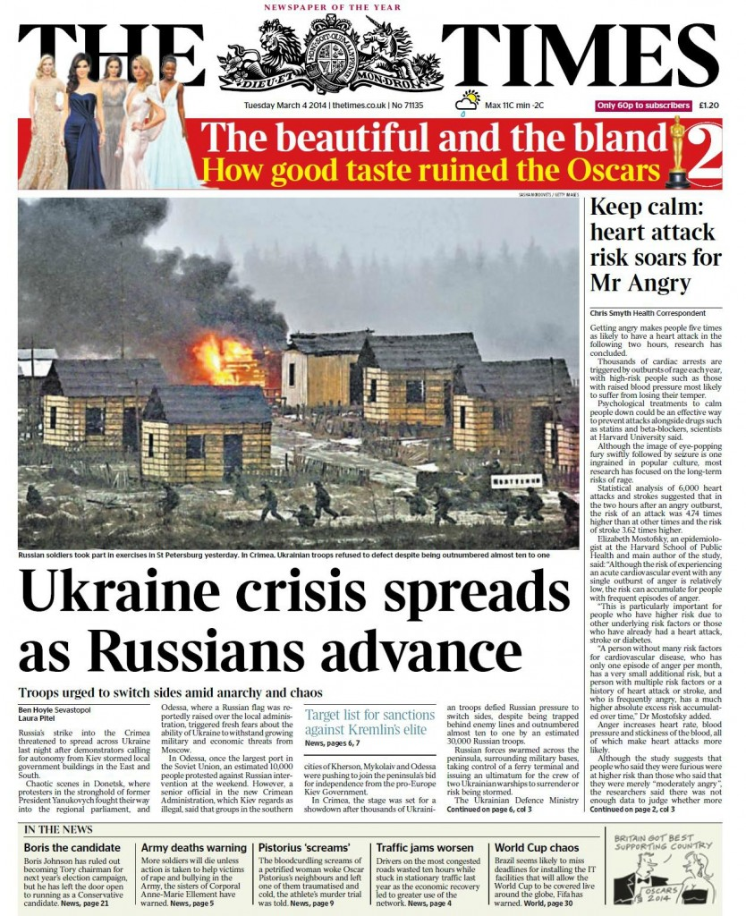 The Times: Ukraine crisis spreads as Russians advance