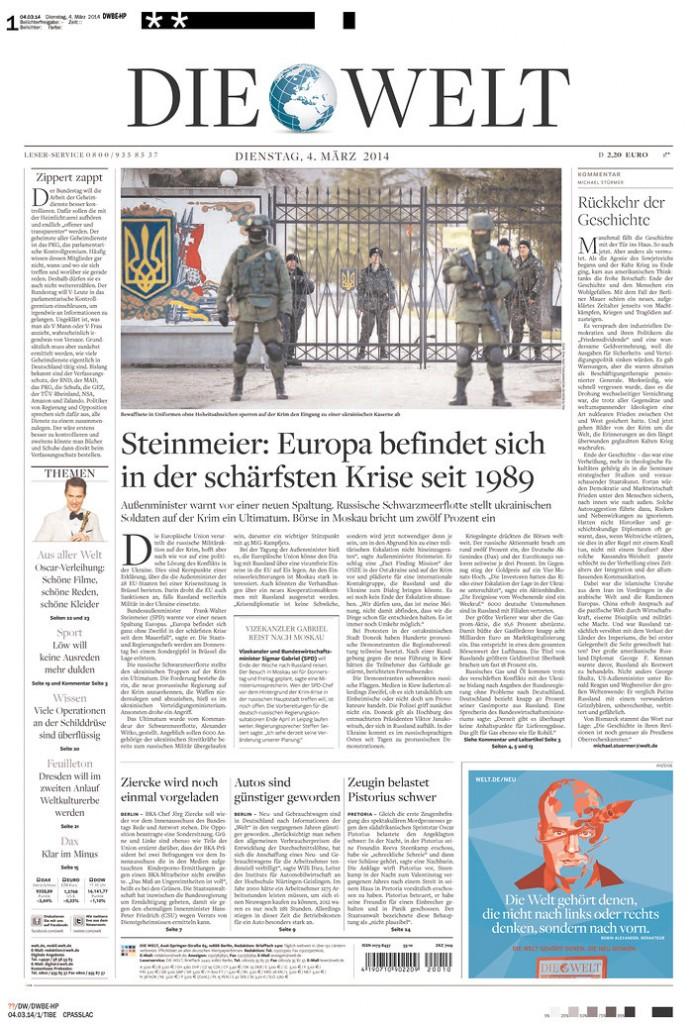 Die Welt: Steinmeier: Europa befindet sich in der scharfsten Krise seit 1989