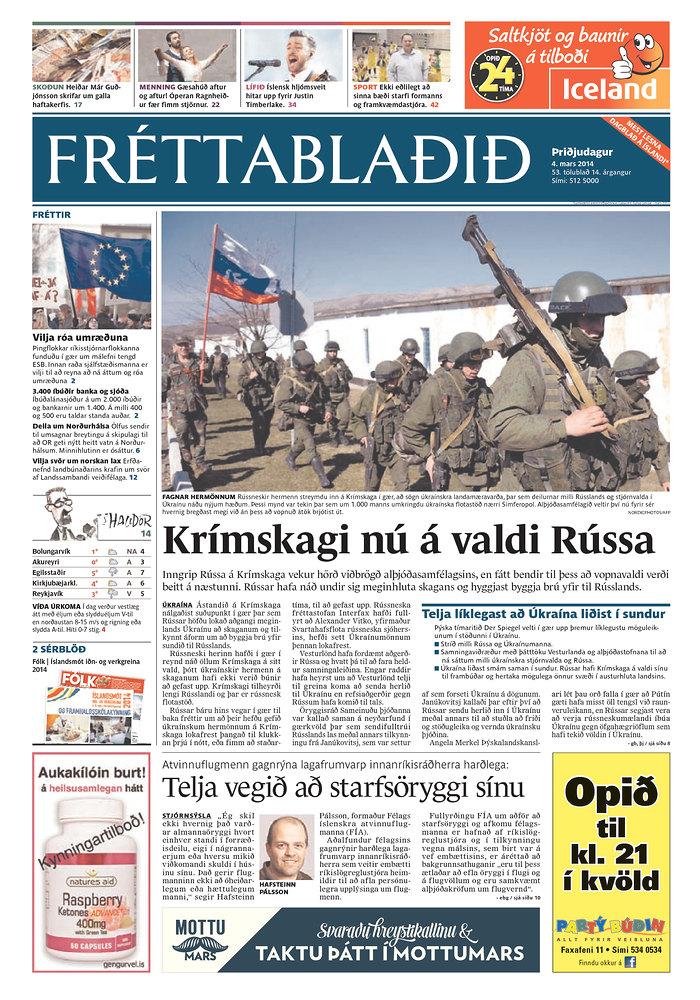 Frettabladid: Krimskagi nu a valdi Russa