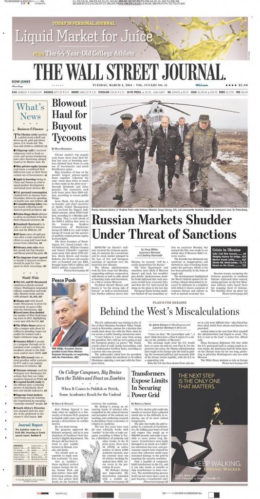 The Wall Sreet Journal:  Russian markets shudder under threat of sanctions