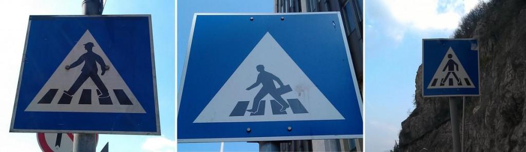Різні знаки для пішохідного переходу в Будапешті